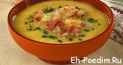 Суп со свиными ребрышками и красной чечевицей
